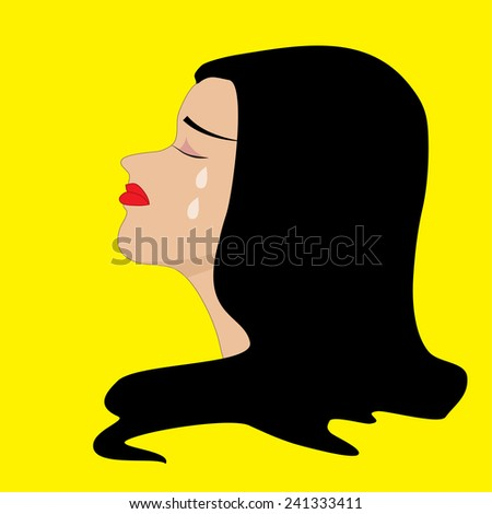 Conceptual illustration of  woman  with tears running down its cheeks conceptual of loss - stock vector