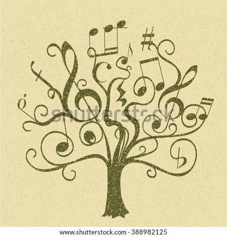 conceptual illustration with abstract tree with musical notes and signs. vector - stock vector