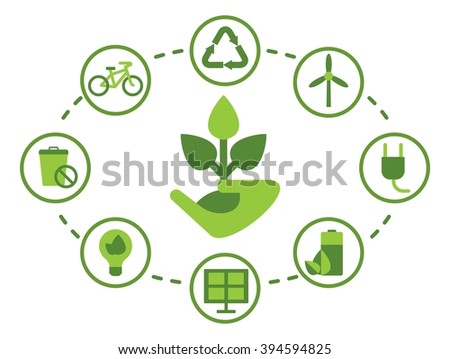 Conceptual image of a green energy and pollute.Ecology icons. Ecology icons set. Ecology icons flat. Ecology icons illustration. Cartoon flat vector illustration. Objects isolated on a background.  - stock vector