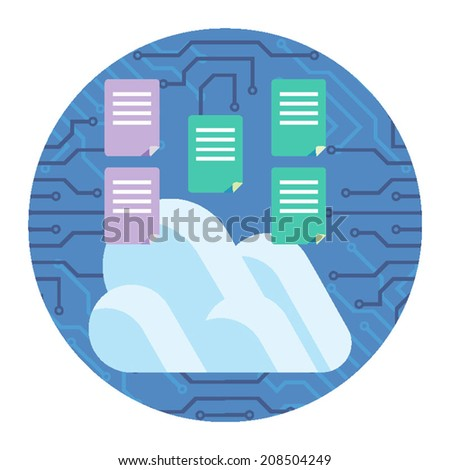 Conceptual image of data and files in the cloud being manufactured and copied with cloud image with network blue background. - stock vector