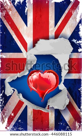 Conceptual image of grunge torn United Kingdom flag. Vector illustration - stock vector