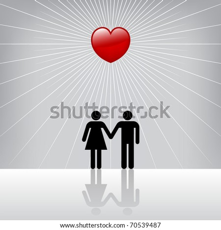 Conceptual image of Man and Woman in love. Vector. - stock vector