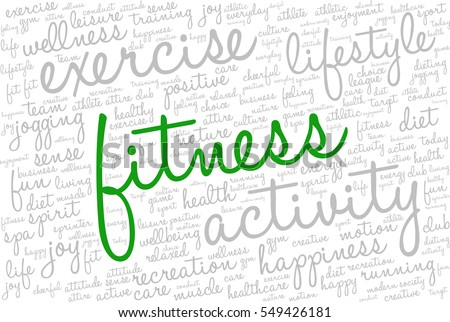"Conceptual image of tag cloud containing words related to active life and healthy lifestyle. Word ""fitness"" emphasized."