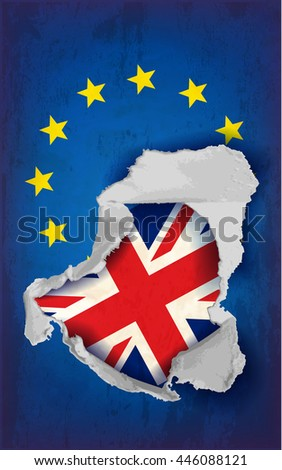 Conceptual image of torn United Kingdom and European union flags. Vector illustration - stock vector