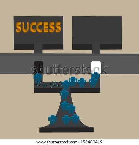 Conceptual image showing the easy and the hard way - stock vector