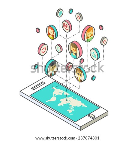 Conceptual image with social networks. Flat isometry, vector illustration