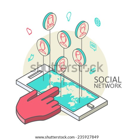 Conceptual image with social networks. Flat isometry, vector illustration eps 10 - stock vector