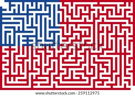 Conceptual Immigration Flag Of USA - stock vector