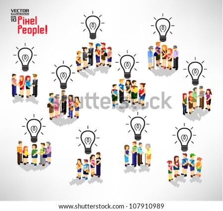 conceptual light bulb with a lot of people icon vector design - stock vector