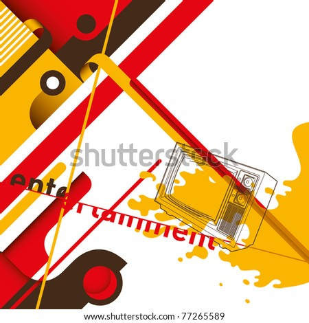 Conceptual modern layout with composed objects. Vector illustration. - stock vector