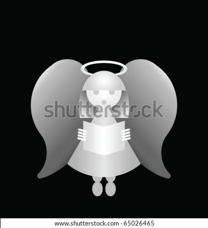 Conceptual monochrome angel isolated on a black background - stock vector