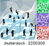 Conceptual piece. Business people building with blocks representing an organisation. Main image on separate layers for easy editing. Also includes several different colour versions - stock photo