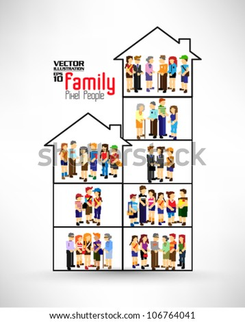 conceptual pixel people family vector design - stock vector