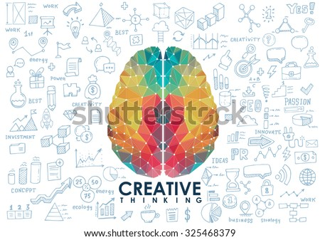 Conceptual Polygonal Brain, Abstract vector Illustration with hand drawn sketches. - stock vector