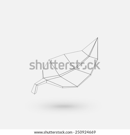 Conceptual polygonal leaf. Abstract vector Illustration, low poly style. Stylized design element. Logo design. - stock vector