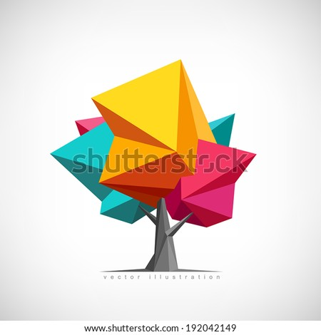 Conceptual polygonal tree. Abstract vector Illustration, low poly style. Stylized design element. Background design for poster, flyer, cover, brochure. Logo design. - stock vector