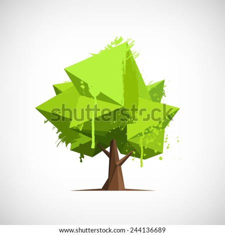 Conceptual polygonal tree with hand drawn watercolor paint splashes. Abstract vector Illustration, low poly style. Stylized design element. Background for poster, flyer, cover, brochure. Logo design. - stock vector