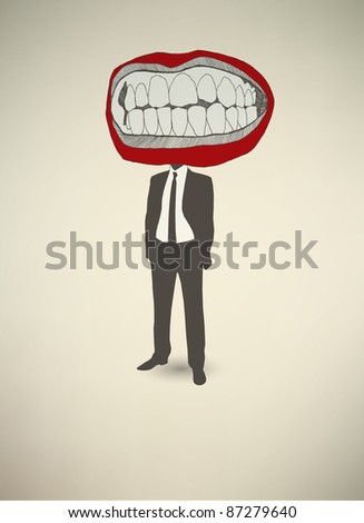 Conceptual poster. The businessman Mouth - stock vector