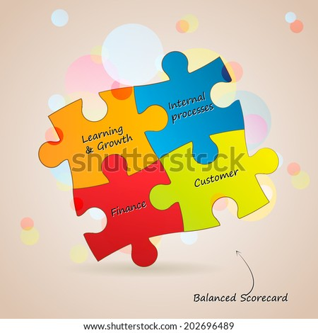 Conceptual puzzle diagram. Balanced scorecard. - stock vector