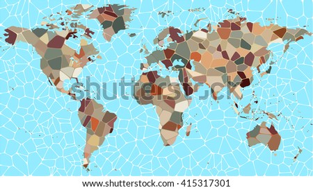 Conceptual representation of an abstract map of the world in the form of multicolored mosaic - stock vector