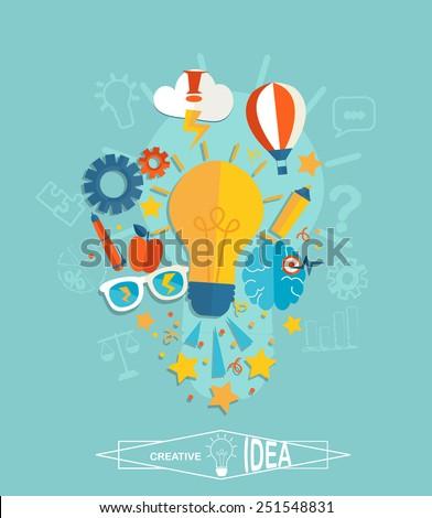 Conceptual representation of an idea or inspiration in flat style, vector. - stock vector