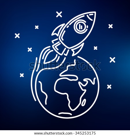 Conceptual rocket orbit earth icon. Spaceship flying around the world sign in space with stars symbol. Thin line icon on blue background. Vector illustration.