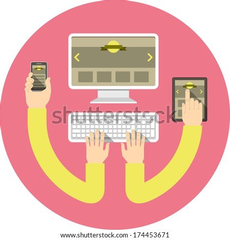 Conceptual round illustration of responsive web design with computer, tablet and smart phone connected with hands - stock vector