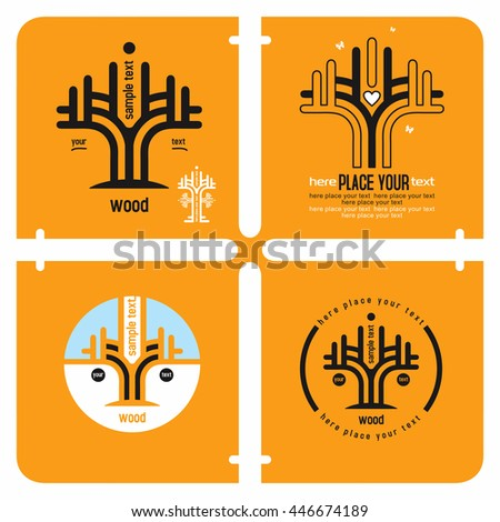 Conceptual set of tree icons; logo design elements, growth and stability wood concept with sample text against orange background.