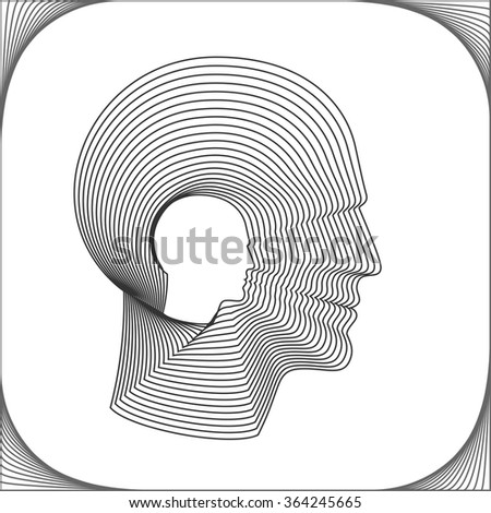 Conceptual side portrait of a happy man. Head of man made from concentric thin line shapes. Vector illustration.