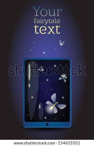 Conceptual smartphone illustration. Smartphone or tablet as a jar of the magic fireflies. Can be used also as an app icon. EPS10 - stock vector