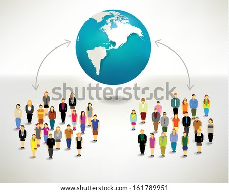 Conceptual social networking people with globe vector design