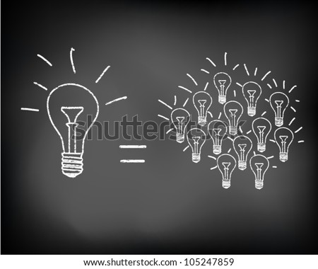 Conceptual sparking idea on black chalkboard with incandescent light bulbs. Vector illustration