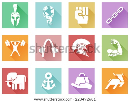 Conceptual strength icon set of icons relating to the concept of strength or being strong in a modern flat shadow style - stock vector