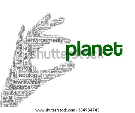 Conceptual tag cloud containing words related to ecology, environment, global warming, pollution, renewable resources, recycling, conservation, efficiency...