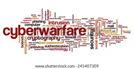 Conceptual tag cloud containing words related to internet security, networking and privacy and cyberwarfare. - stock vector