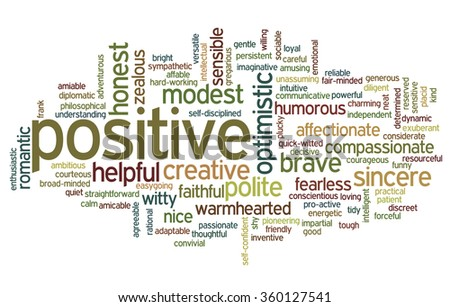 Conceptual tag cloud containing words related to positive personality features such as friendly, determined, discreet, funny, gentle, helpful, honest and intelligent. - stock vector