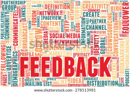 "Conceptual tag cloud containing words related to social media, marketing, blogs, social networks and Internet. Word ""feedback"" emphasized."