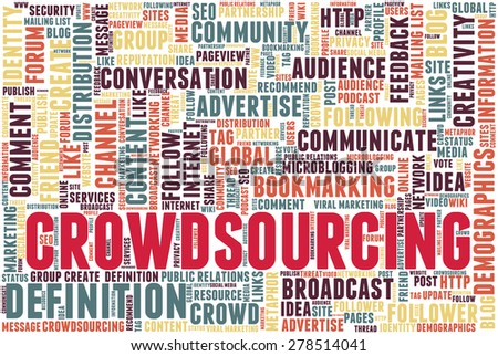 "Conceptual tag cloud containing words related to social media, marketing, blogs, social networks and Internet. Word ""crowdsourcing"" emphasized."