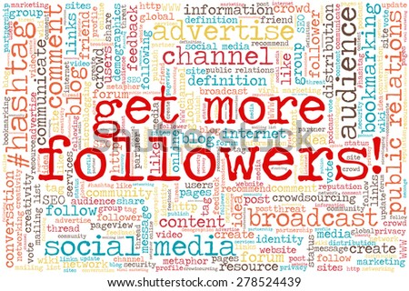 """Conceptual tag cloud containing words related to social media, marketing, blogs, social networks and Internet. Words """"Get more followers!"""" emphasized. - stock vector"""