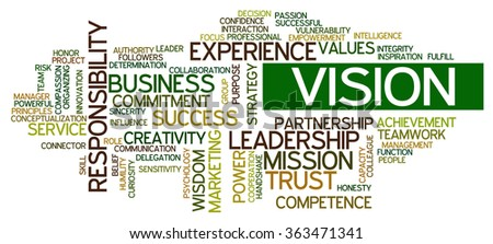 Conceptual tag cloud containing words related to strategy, leadership, business, innovation, success, motivation, vision, mission and teamwork. - stock vector