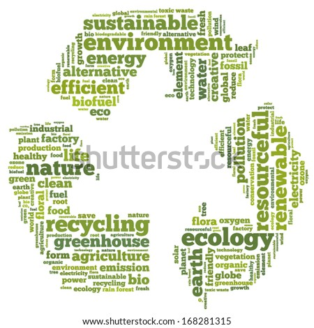 Conceptual tag cloud in the shape of the recycle symbol on white containing words related to ecology, environment, pollution, renewable resources, recycling, conservation, efficiency...  - stock vector