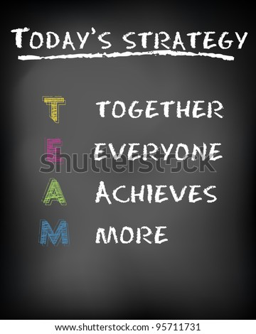 Conceptual TEAM acronym on black chalkboard (together, everyone, achieves, more) - vector illustration