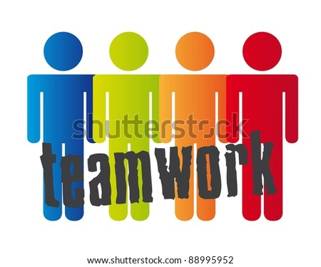 conceptual teamwork with men sign over white background. vector