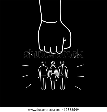 Conceptual vector aggressive campaign strategy icon of people group pushing down by hand fist | flat design marketing and business linear illustration and infographic concept white on black background - stock vector