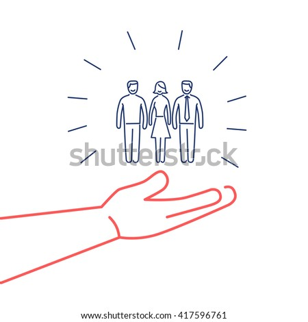 Conceptual vector conservative friendly campaign strategy icon of people group in open palm hand | flat design marketing and business linear illustration infographic red and blue on white background - stock vector