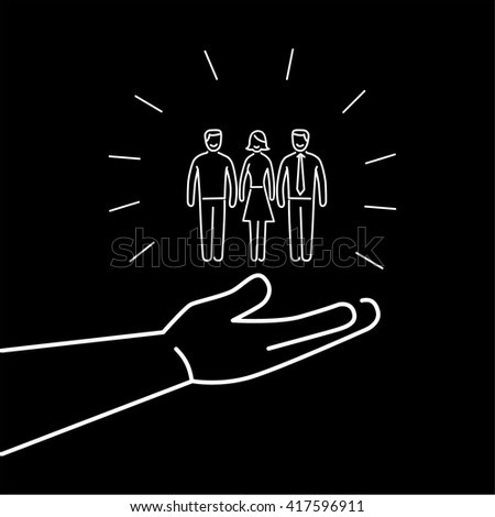 Conceptual vector conservative friendly campaign strategy icon of people group in open palm hand | flat design marketing and business linear illustration infographic concept white on black background - stock vector