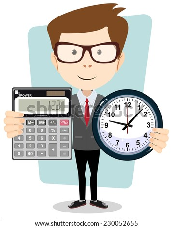 Conceptual vector figure illustration, cartoon businessman  with a big calculator and clock in his hands.symbolizing time management, productivity, planning and scheduling.Stock Vector illustration - stock vector