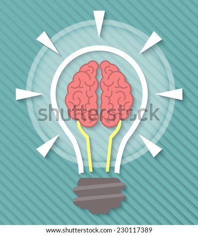 Conceptual vector flat icon of brain and idea in the form of light bulb with soft shadow on a blue striped background. Education symbol. - stock vector