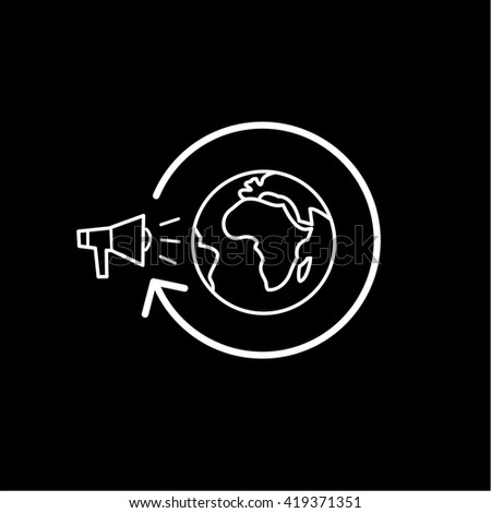 Conceptual vector global marketing campaign strategy icon with megaphone and globe. modern flat design marketing and business linear illustration and infographic concept white on black background