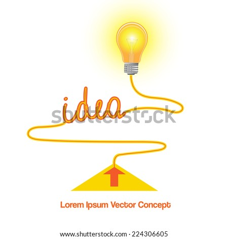 Conceptual vector icon, light bulb idea abstract background for your successful business design - stock vector